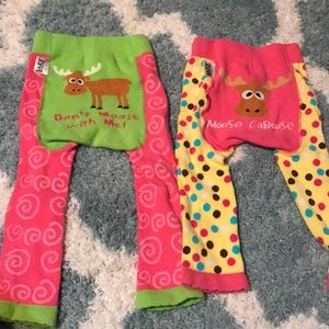 Lazy One Toddler Girls Leggings Pants Beaver I/'m Busy Blue Pink White Polka Dots